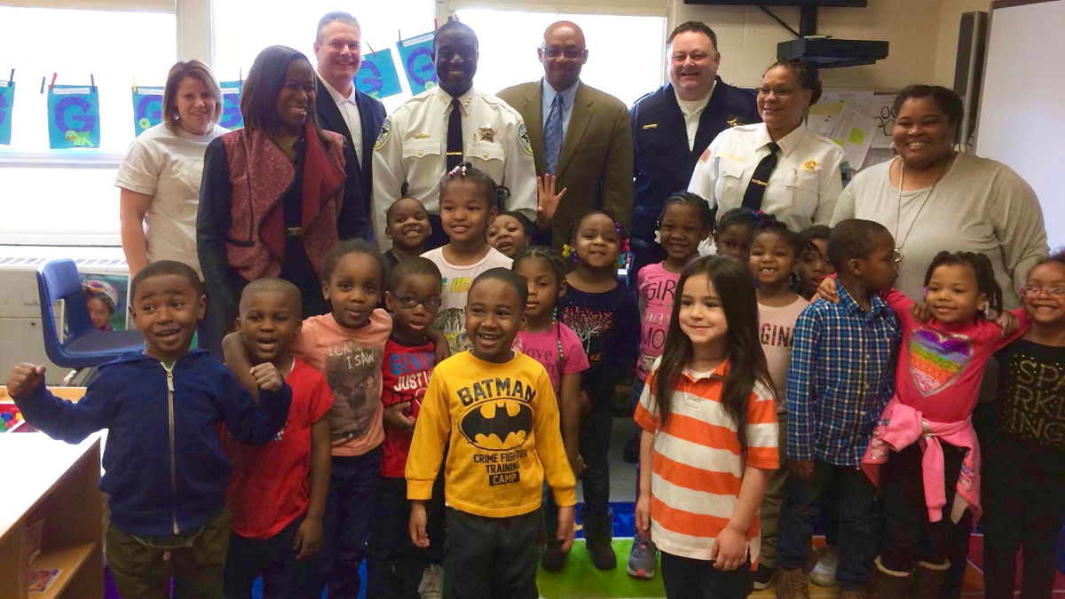 Hazel Crest Chief Mitchell Davis, State Representative Will Davis, Riverdale Chief David DeMik, and Richton Park Chief Elvia Williams joined the staff and children of the Riverdale-Dolton District 148 Early Childhood Center. The visitors read to the preschoolers and discussed the benefits of early childhood education.