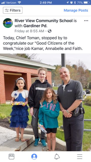 "Gardiner Chief Toman visited River View Community School to congratulate three students who had been named ""Good Citizens of the Week."""