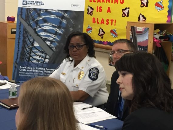 Darby Township Police Chief Regina Price and Delaware County DA Katayoun Copeland joined a pre-k roundtable discussion with state legislators at Today's Child Learning Center in Clifton Heights on May 31, 2018.