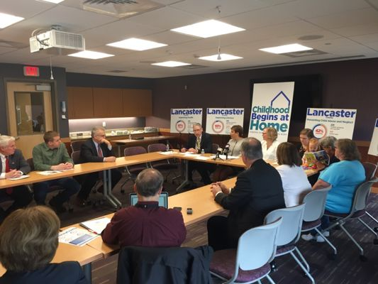 Lancaster County DA Craig Stedman participates in a discussion with legislators about the benefits of evidence-based home visiting programs on April 12, 2018 at Women and Babies Hospital in Lancaster.