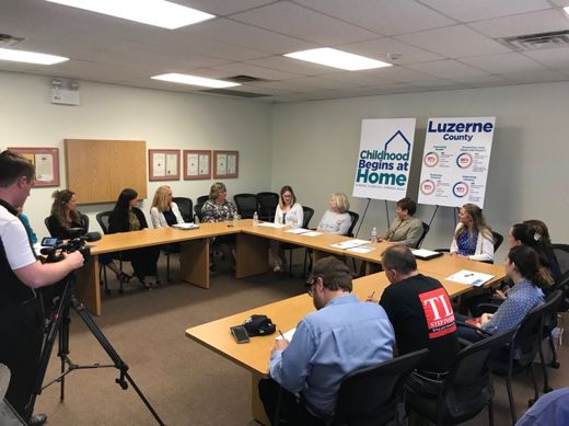 Luzerne County DA Stefanie Salavantis spoke at the home visiting roundtable with legislators, home visitors and participating mothers at the Luzerne County Head Start facility in Wilkes-Barre on May 24, 2018