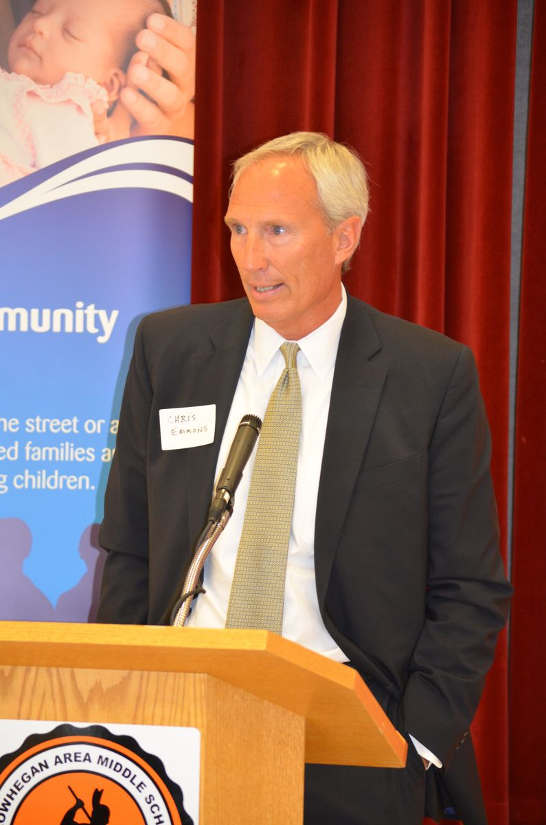 ReadyNation member Chris Emmons, CEO of Gorham Savings Bank at an early care and education press conference in Skowhegan, Maine.