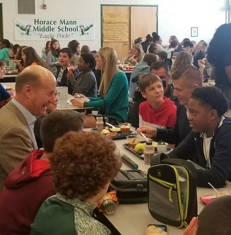Major General Raaberg and Senator Ryan Weld eat lunch with students