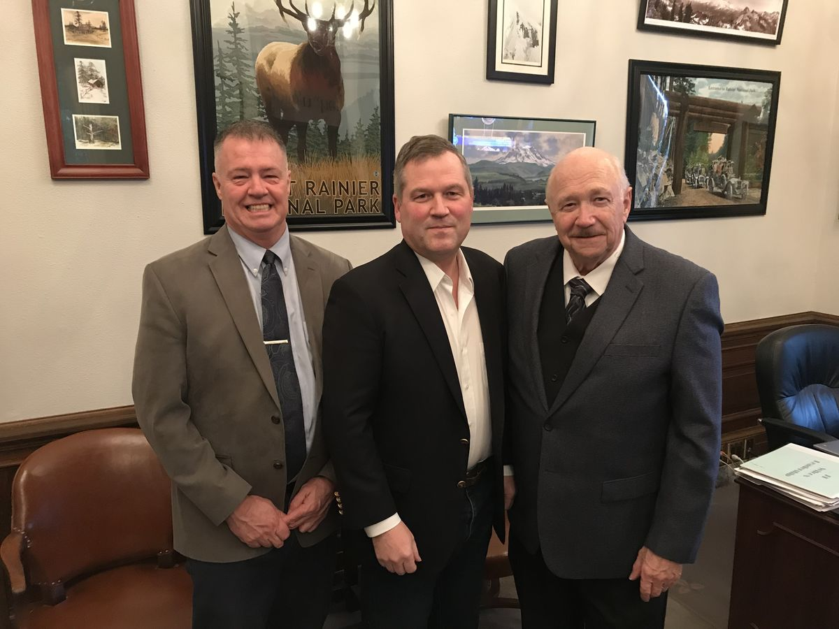 Retired U.S. Army Lieutenant Colonel Bud Blake, representing Mission: Readiness; Washington State Representative J.T. Wilcox; Mike Edwards, ReadyNation WA member