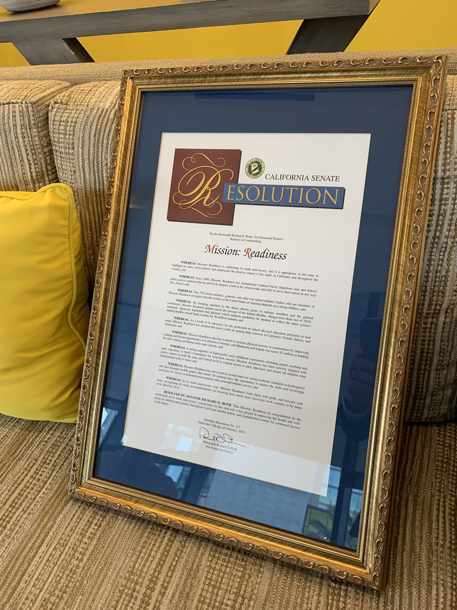 California State Senate Resolution in honor of 10th Anniversary of Mission: Readiness.