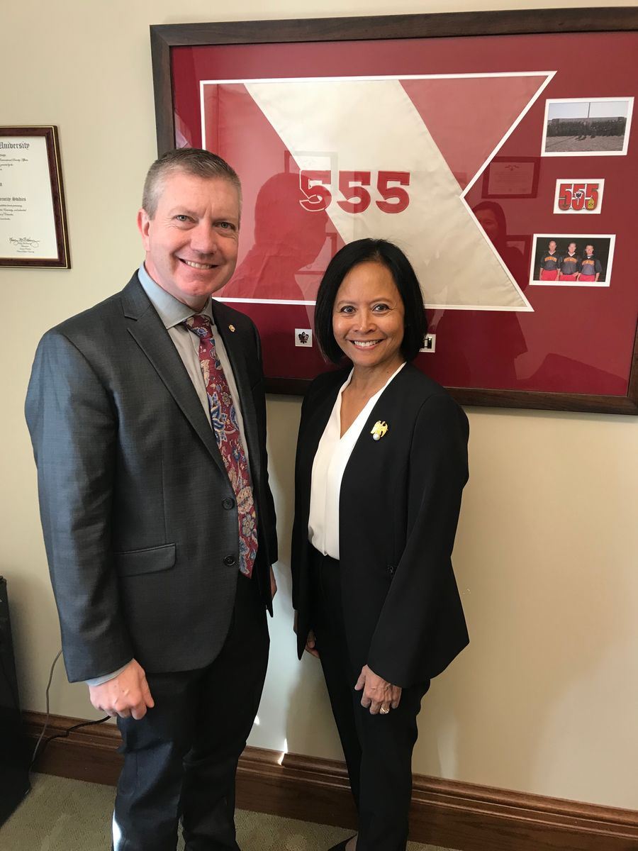 Rear Admiral (Ret.) Eleanor Valentin met with Washington State Rep. Chris Gildon to discuss the importance of investments in ECEAP and to thank him for his service in the U.S. Army.