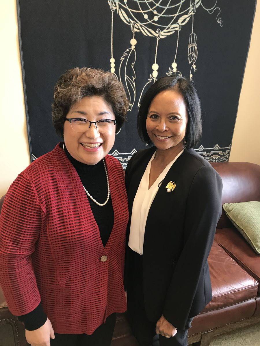 Rear Admiral (Ret.) Eleanor Valentin met with Washington State Rep. Cindy Ryu to discuss the importance of investments in expanded learning opportunities, and to thank her for her leadership as Chair of the Veterans Committee.