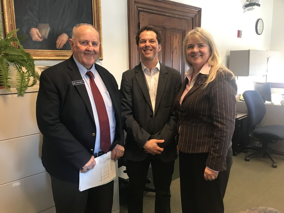 Maine Legislative Children's Caucus Co-Chairs Rep. Sawin Millett (left) and Sen. Rebecca Millett (right) with former Senate President and Full Plates Full Potential Director Justin Alfond.