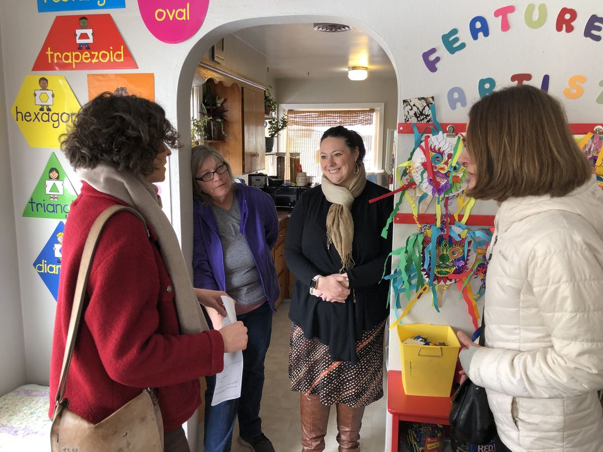 ReadyNation member Kim Mosier (at left) discusses the need to expand quality child care options across the state with Theresa Martinez, Early Learning Coordinator/Preschool Promise Director, Malheur ESD and Kelly Poe, Director of Community Services/Early Learning HUB Director, Malheur ESD.