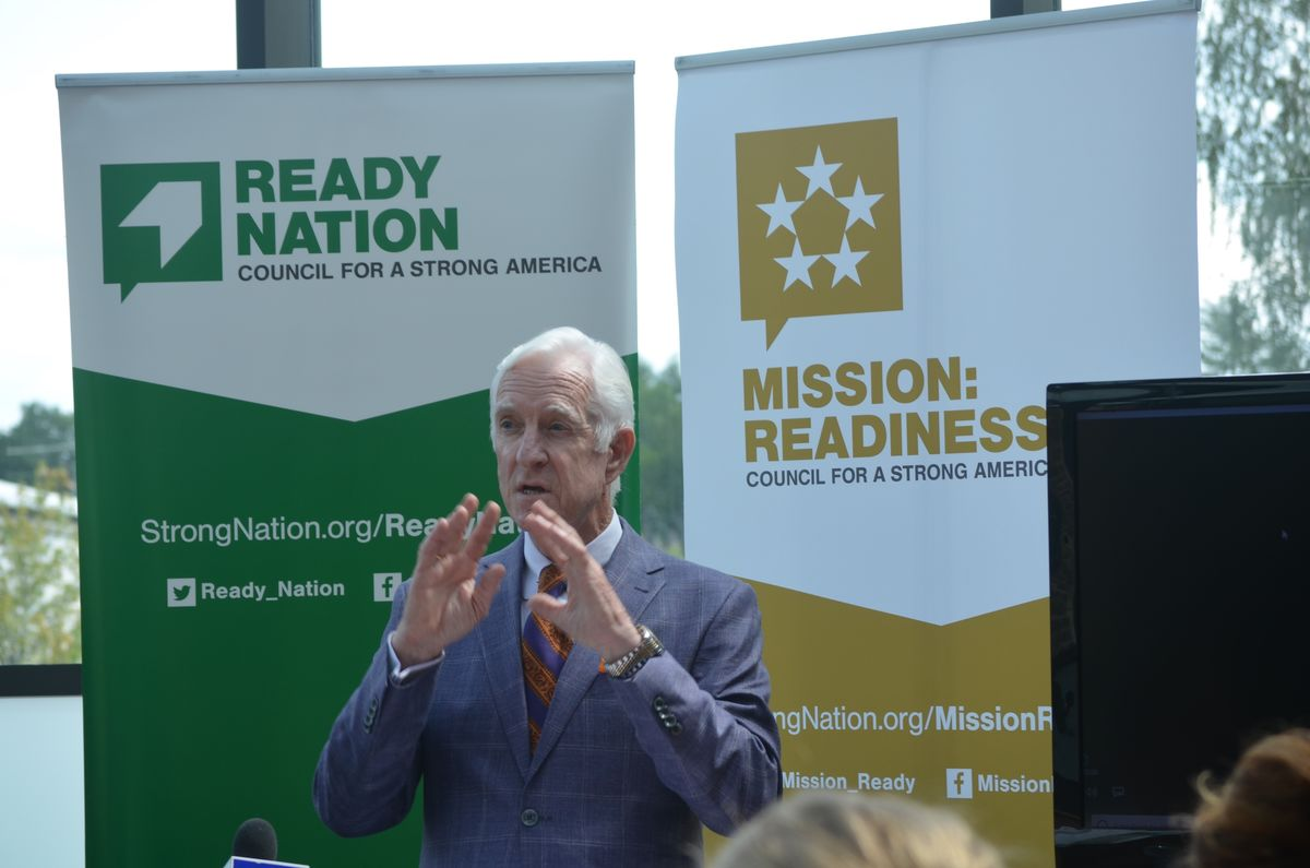 Maine State Chamber of Commerce President Dana Connors speaks at a ReadyNation event at Thomas College