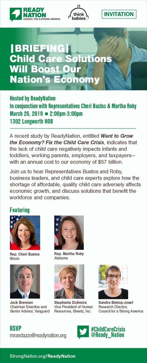 An invitation with list of speakers for ReadyNation's 2019 child care Hill briefing.