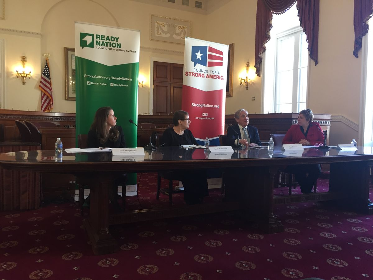 Jenny Wing Harper, Sandra Bishop-Josef, Jack Brennan, and Stephanie Doliveira speak at the ReadyNation child care briefing on 3/26/19