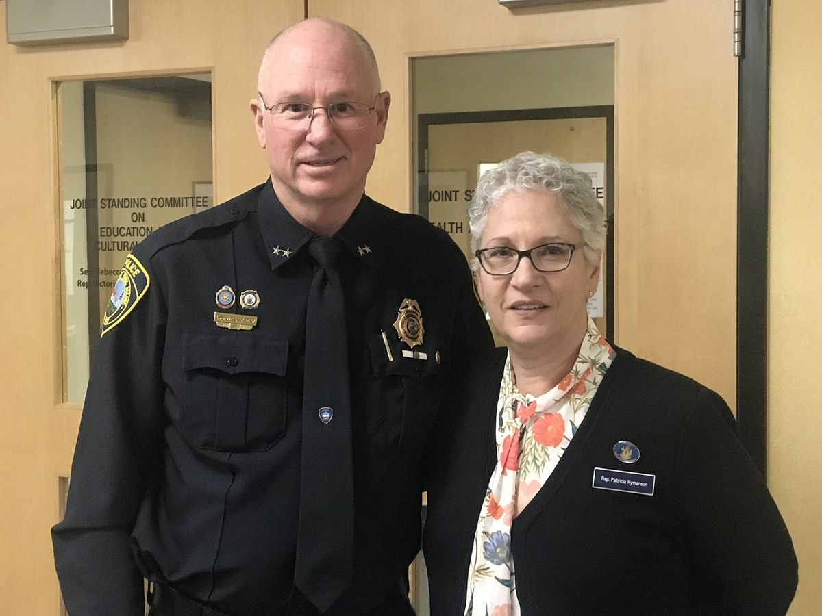 York Chief of Police Doug Bracy and Health and Human Services Committee House Chair Patricia Hymanson (D-York)