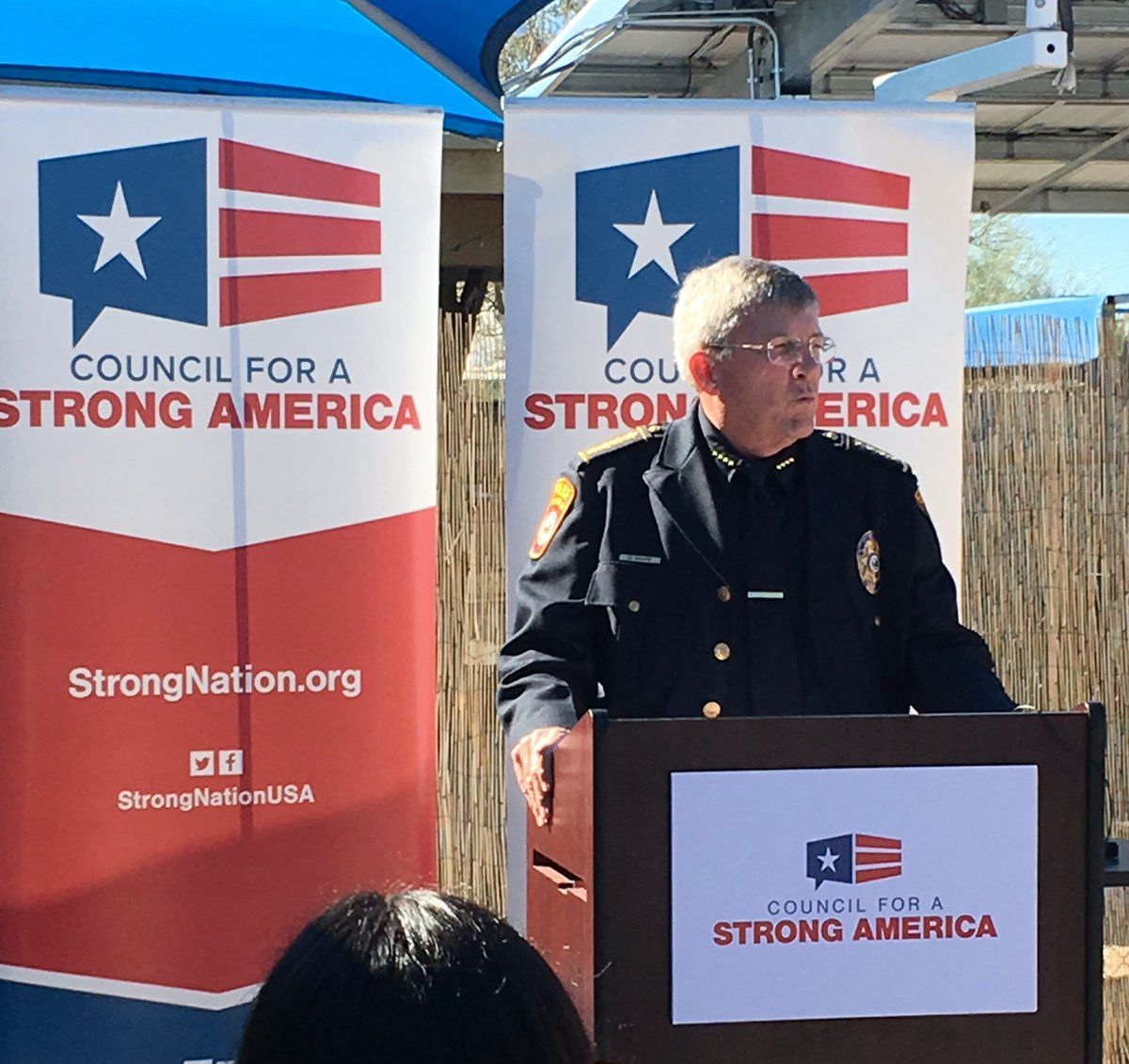 Oro Valley Police Chief Daniel Sharp speaking at a recent event