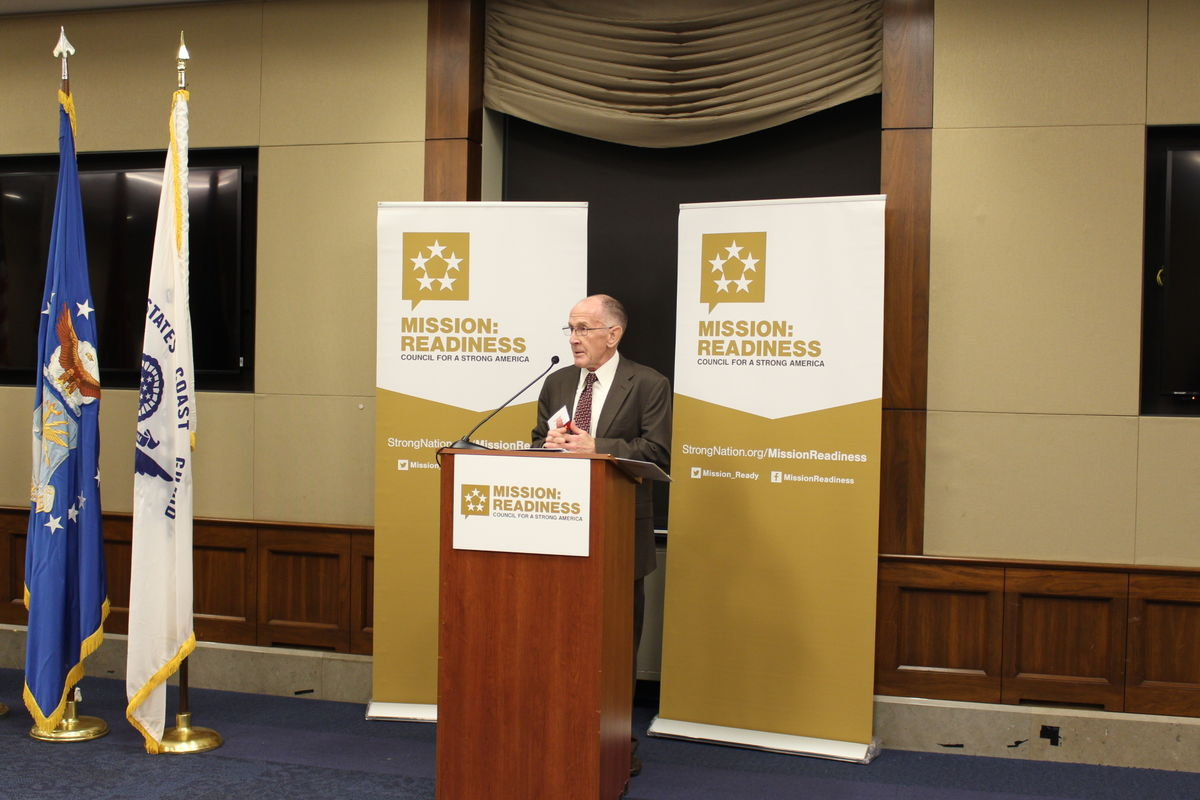 Lieutenant General (Ret.) Norman Seip, Mission: Readiness member and Chairman of the CSA Board, speaks during Capitol Hill reception