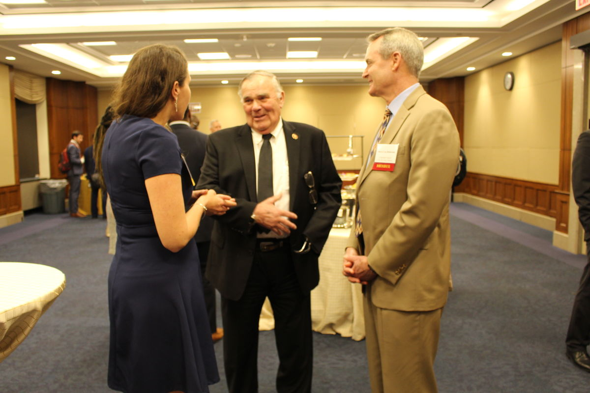 Rep. Jim Baird (R-IN) speaks with CSA Vice President of Federal Policy and Strategic Communications Jenny Wing Harper and Lieutenant General (Ret.) Darryl Roberson during Capitol Hill reception