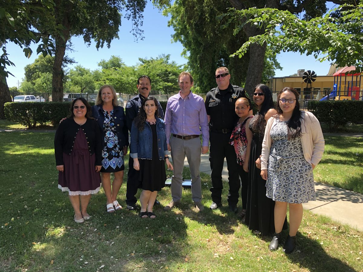 Assemblymember Gallagher, Yuba City Chief Landon, Sutter County Undersheriff Smallwood with Yuba City Unified School District Staff at Bernard Children's Center