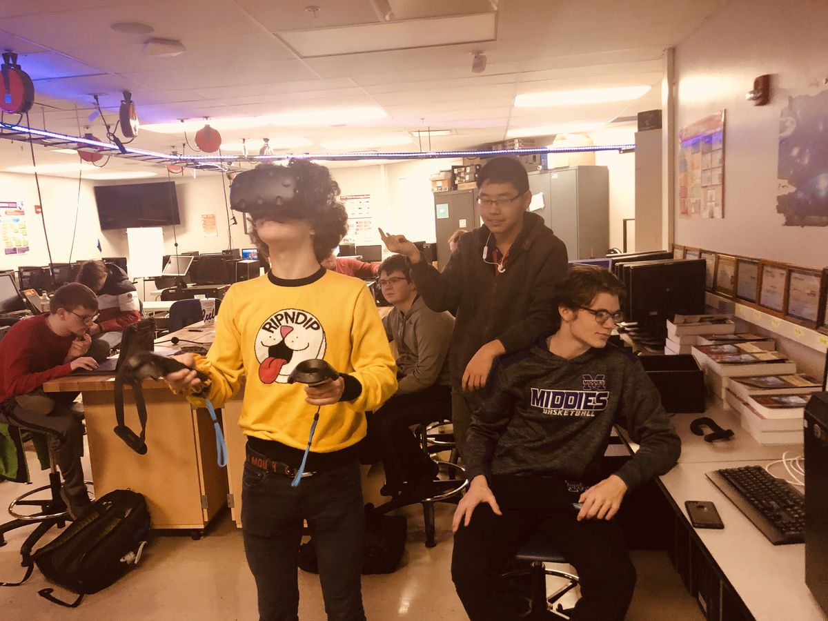 A student uses VR technology