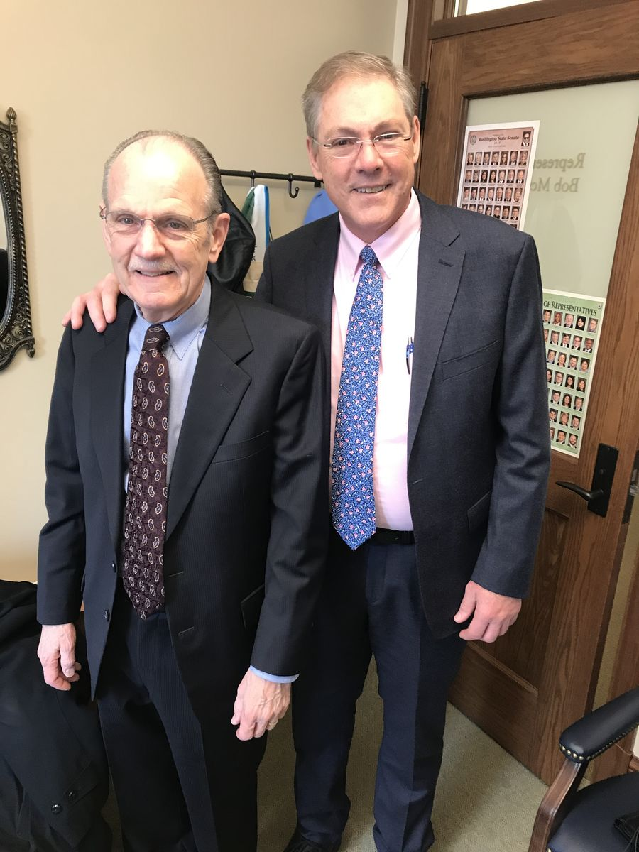 David Graybill and Rep. Bob McCaslin, member of the House Human Services & Early Learning Committee discussed the important role of positive early learning teachers in young learners' lives.
