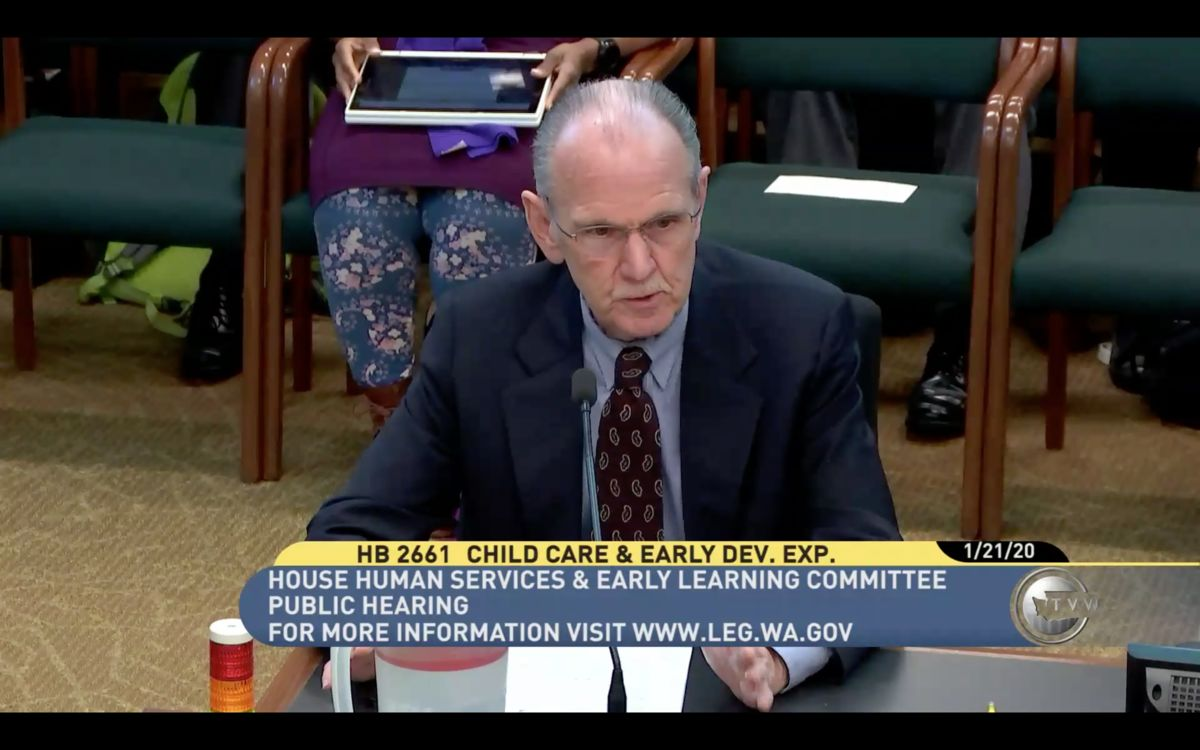 ReadyNation Washington member David Graybill testifying in support of increased access to ECEAP in front of the House Human Services & Early Learning Committee on January 21, 2020.