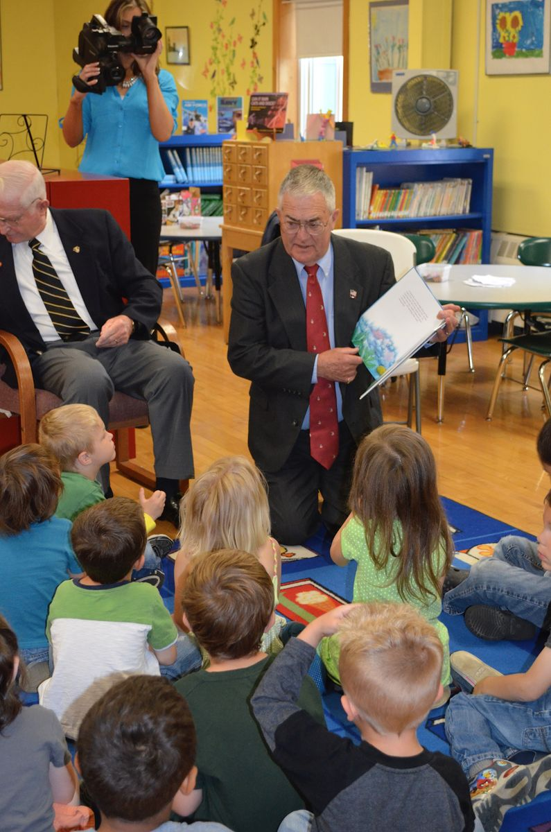 Mission: Readiness member, Retired Major General Earl Adams, reading to PreK students in Bangor