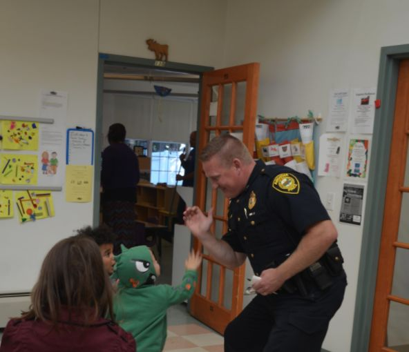 Chief Jared Mills in Classroom