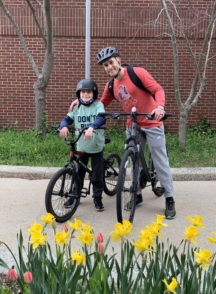 Jake Ferreira and Son Cruz on bikes