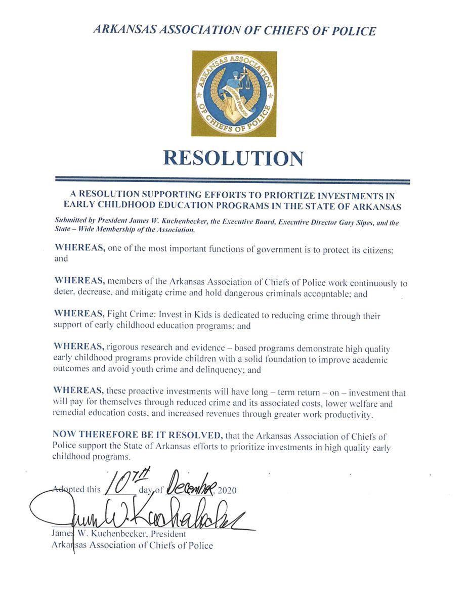 Arkansas Police Chiefs Resolution