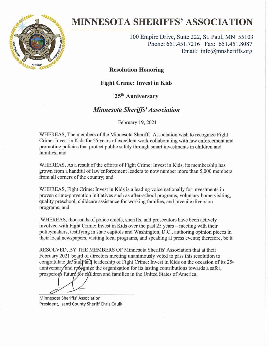 Minnesota Police Chiefs Resolution