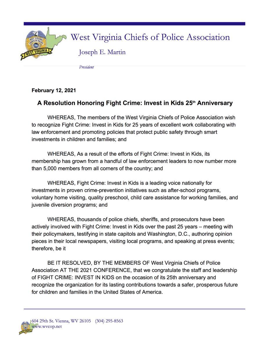 West Virginia Police Chiefs Resolution