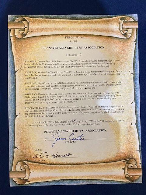 Pennsylvania Sheriffs' Association Resolution