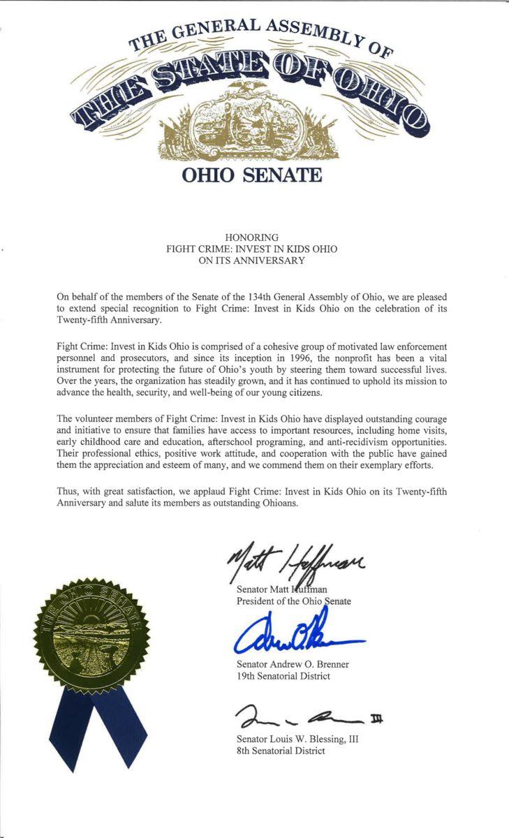Ohio Senate Proclamation