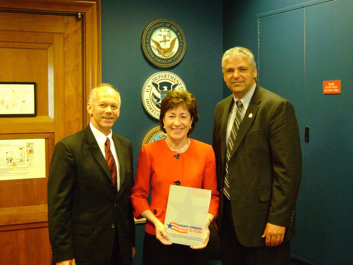 May 24, 2009: former Bangor Chief Ron Gastia, US Senator Susan Collins, former Auburn Chief Phil Crowell