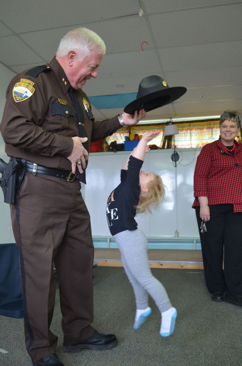 Washington County Sheriff Barry Curits at a child care in Calais