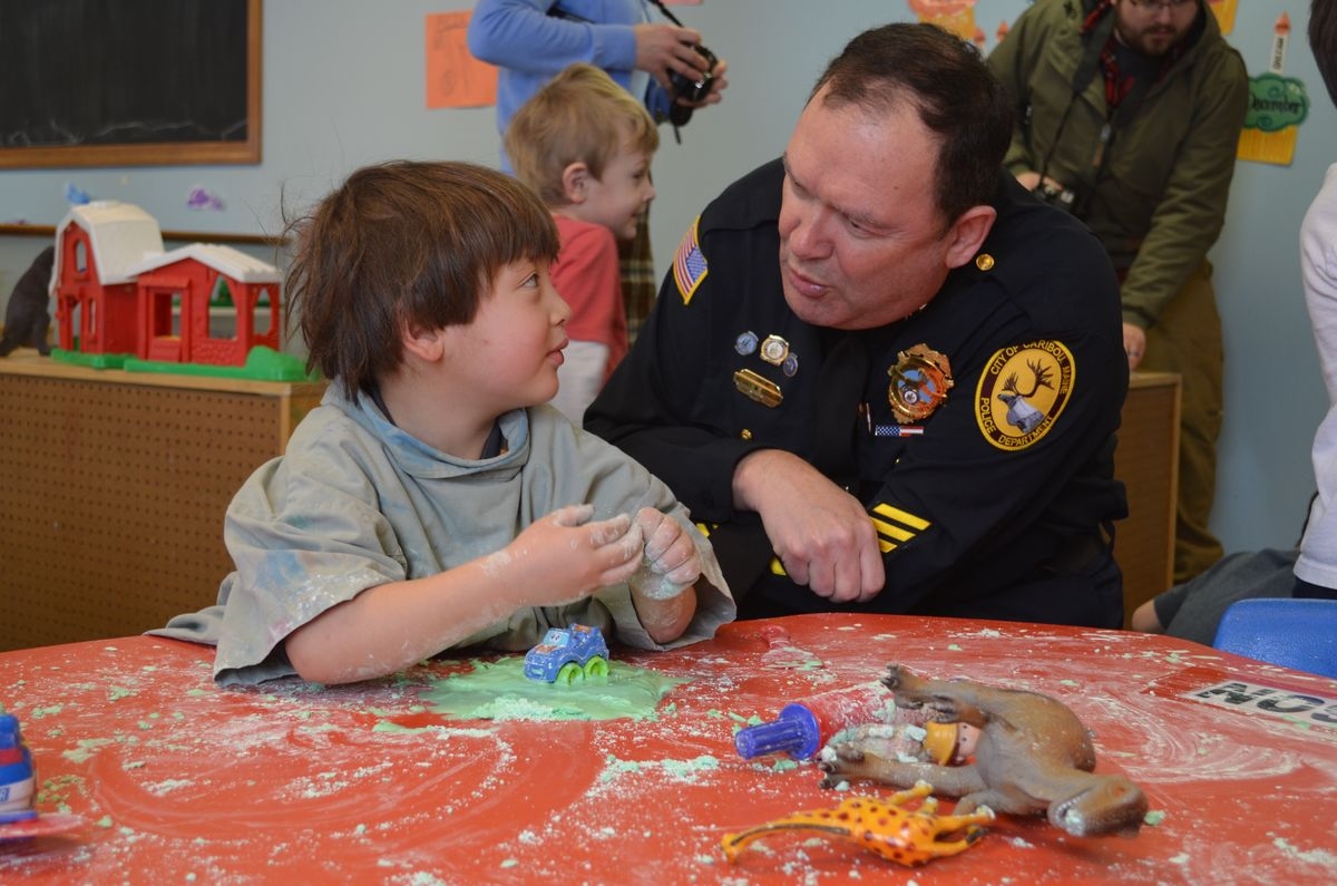 March 2, 2015: Caribou Chief of Police Michael Gahagan at the Caribou Head Start Center