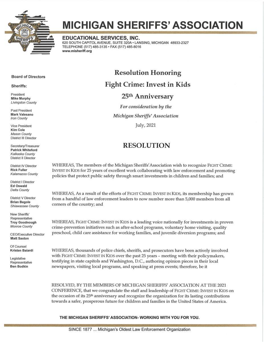Michigan Sheriffs' Association Resolution
