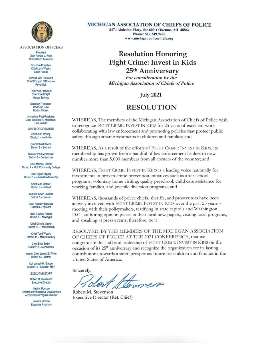 Michigan Association of Chiefs of Police Resolution