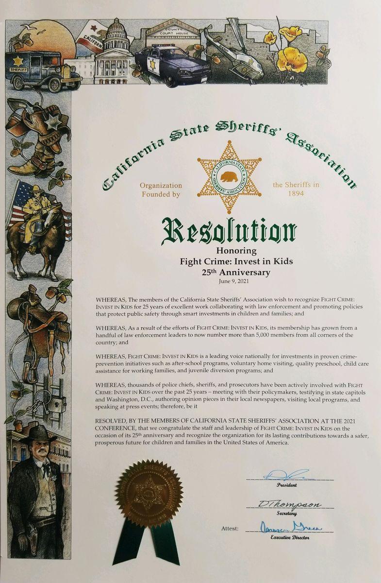 California State Sheriffs' Association Resolution