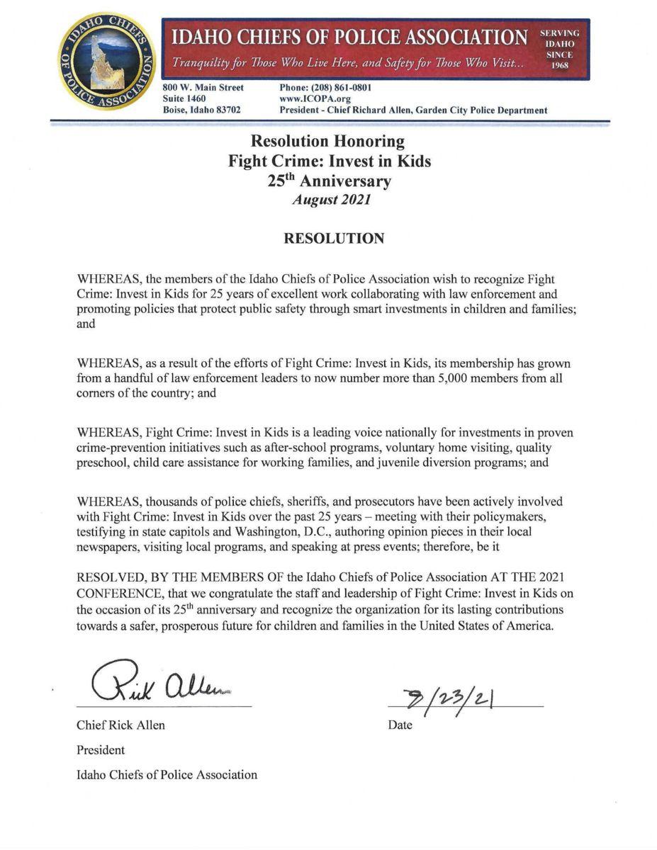 Idaho Chiefs of Police Association Resolution