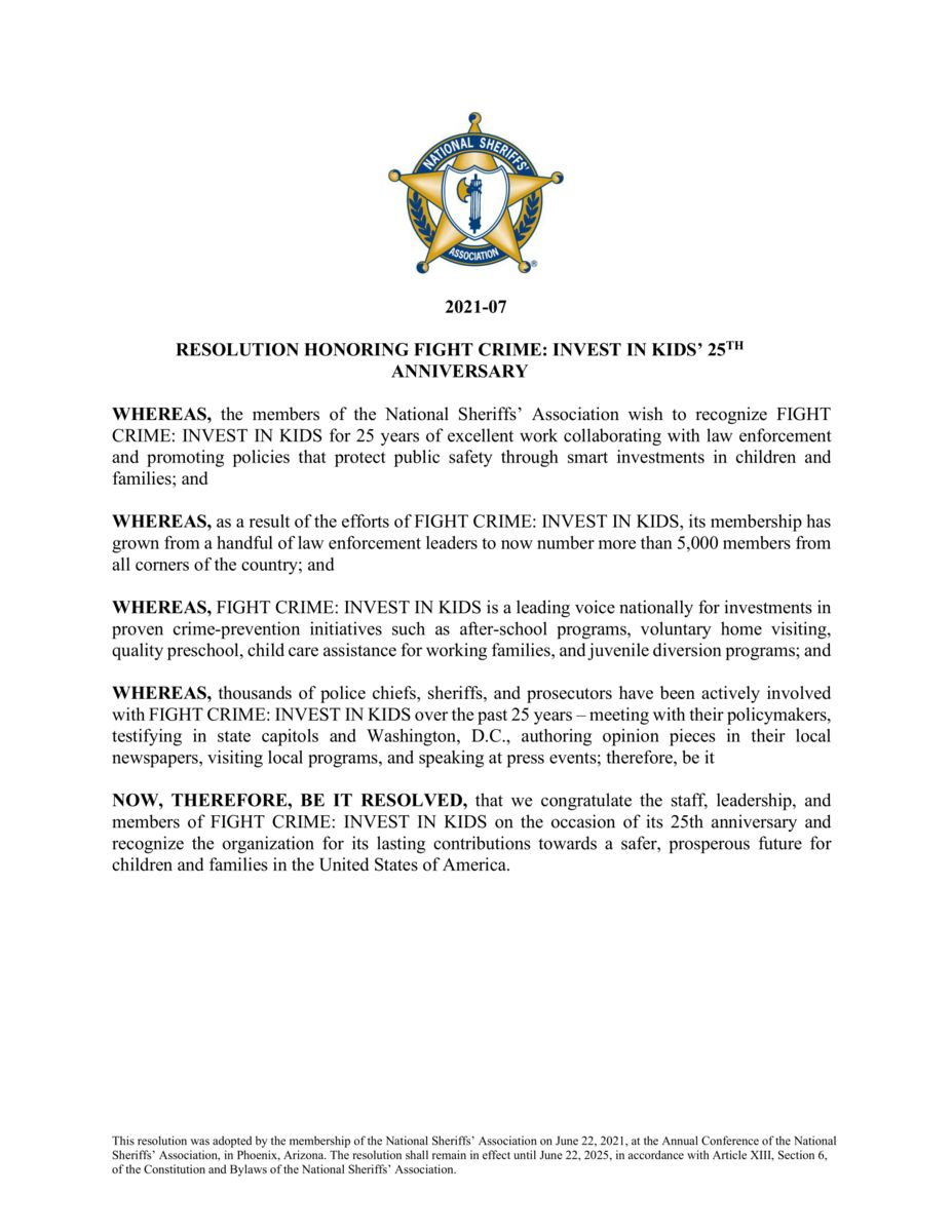 National Sheriffs' Association Resolution