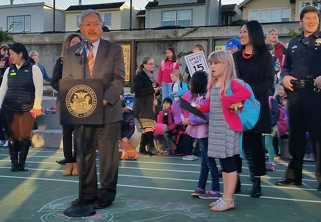 San Francisco Mayor Ed Lee, District 4 Supervisor Katie Tang, and San Francisco Recreation and Park General Manager Phil Ginsberg