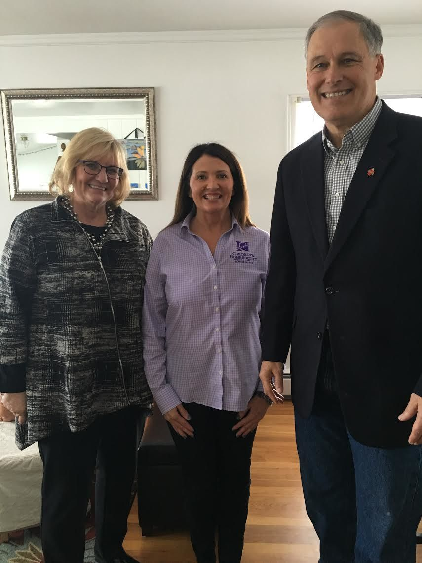 Governor and Mrs. Inslee with Shelly Nelson, a home-visiting professional
