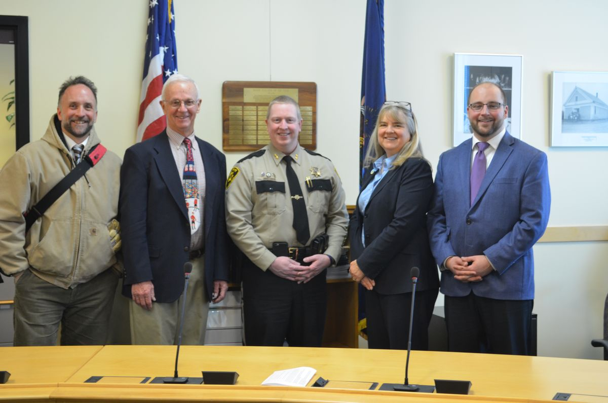 Educate Maine's Ed Cervone, Maj. Gen. Bill Libby, Penobscot County Sheriff Troy Morton, and Maine Children's Caucus Co-Chairs Sen. Rebecca Millett and Rep. Matt Pouliot.