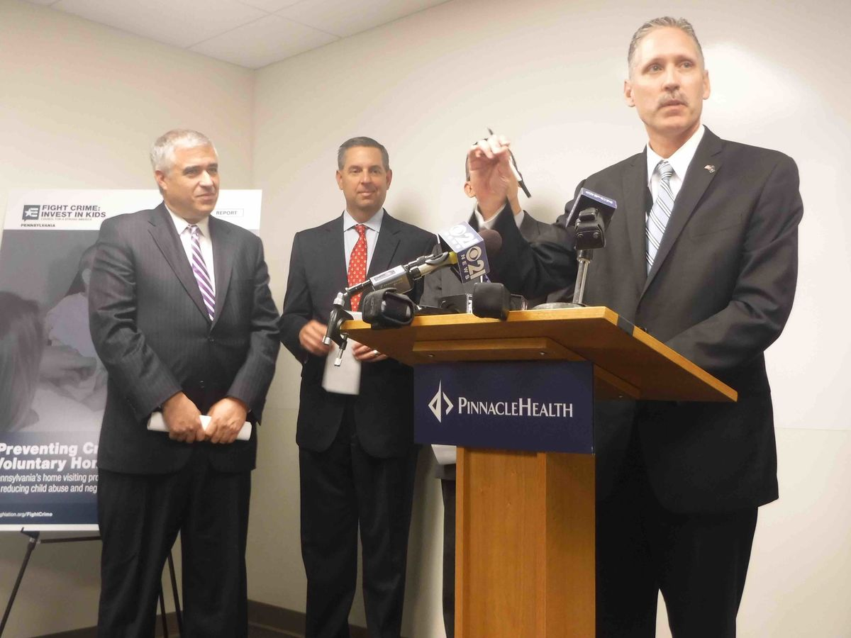 District Attorneys Edward Marsico (Dauphin), David Freed (Cumberland), Craig Stedman (speaking, Lancaster), and David Arnold (Lebanon) make the case for state investment in evidence-based home visiting programs at Pinnacle Health's Children's Resource Center on May 30, 2017. Also participating were PA Senators John Rafferty and Mike Regan.