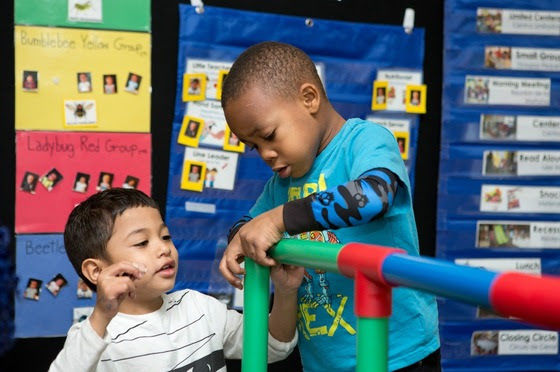 Photo showing kids working together, a deeper learning competency
