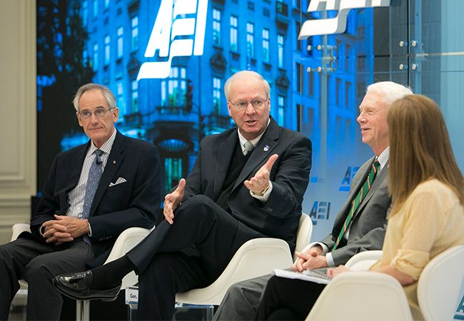 "Panel discussion with (left to right) Admiral (Ret.) Gregory G. ""Grog"" Johnson, General (Ret.) Craig R. McKinley, U.S. Representative Jack Bergman, and Katharine B. Stevens, Ph.D."