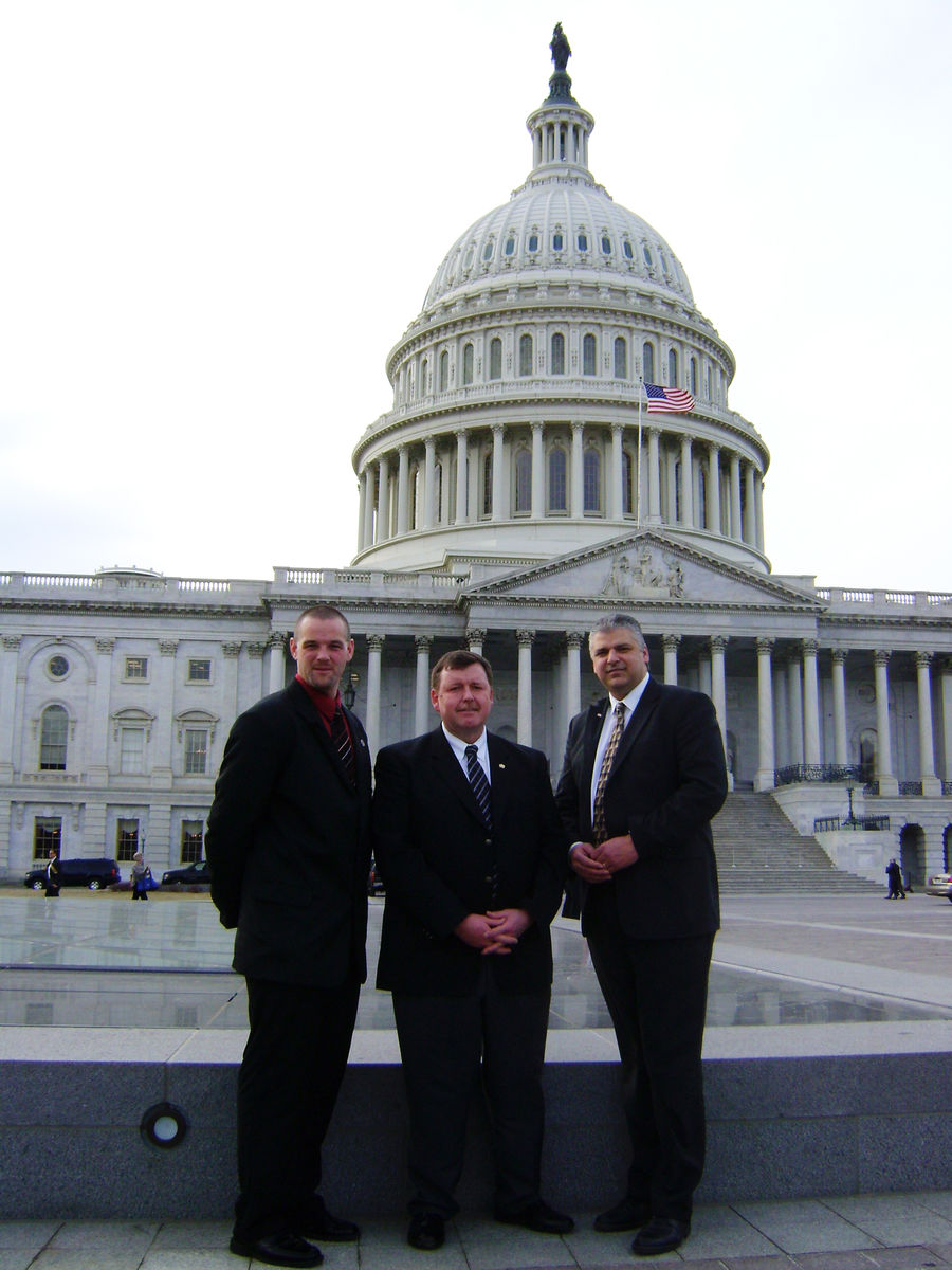 Maine Fight Crime: Invest In Kids members Veazie Chief Mark Leonard, former Sagadahoc County Sheriff Mark Westrum and Auburn Chief Phil Crowell outside the U.S. Capitol before meeting with Maine's congressional delegation to talk about the crime reduction benefits of high-quality early education and care programs.