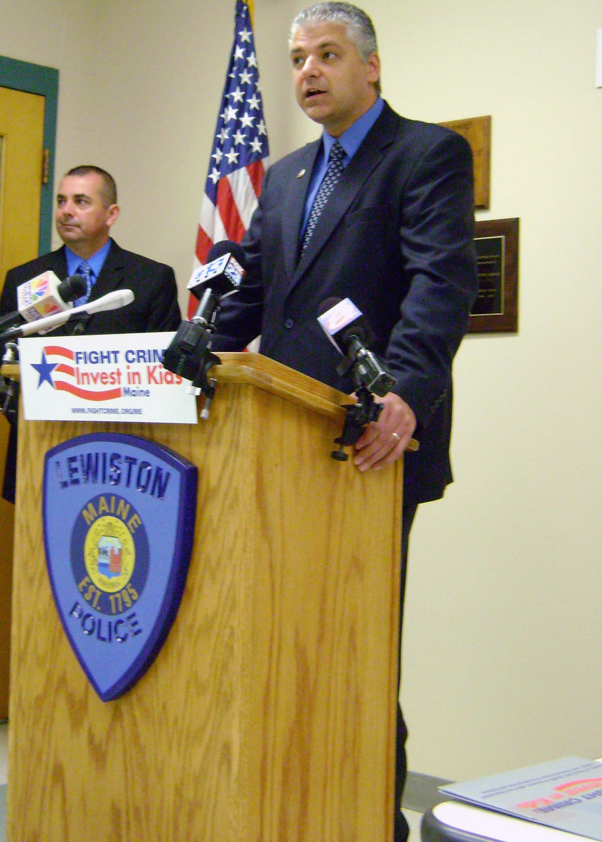 Auburn Chief Phil Crowell speaking at a 2011 press conference in Lewiston on the importance of the federal child care tax credit for working parents.